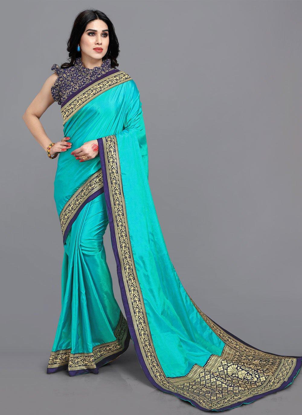 Vichitra Silk Lace Turquoise Traditional Saree