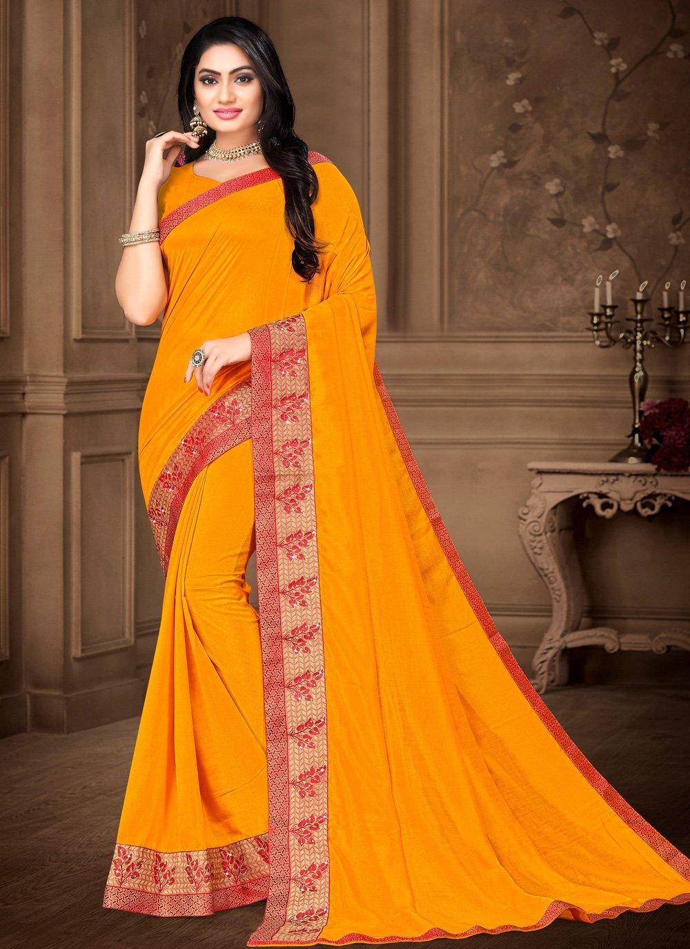 Vichitra Silk Lace Yellow Classic Saree