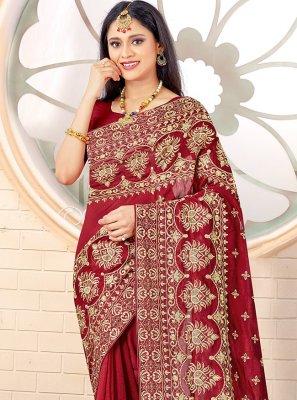 Vichitra Silk Maroon Traditional Designer Saree
