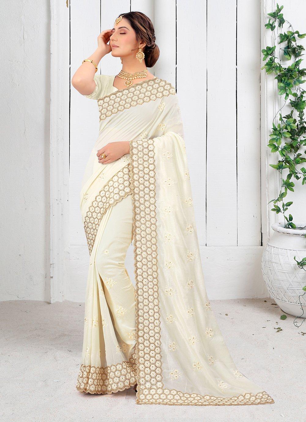 Vichitra Silk Off White Silk Saree