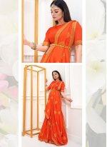 Vichitra Silk Orange Classic Designer Saree