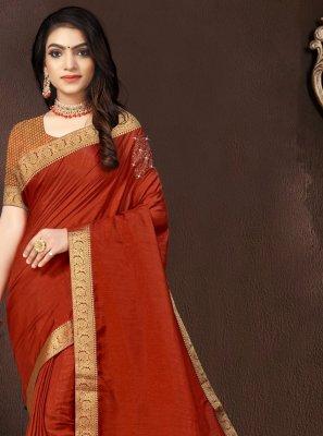 Vichitra Silk Orange Traditional Designer Saree