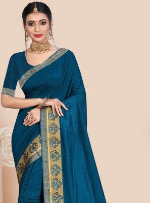 Vichitra Silk Patch Border Blue Traditional Saree