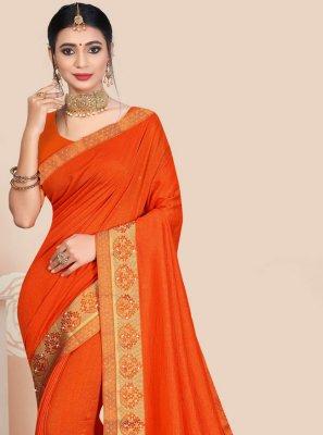 Vichitra Silk Patch Border Orange Traditional Saree