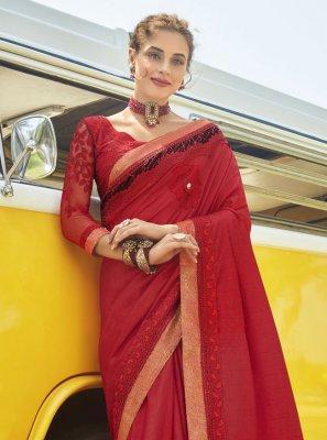 Vichitra Silk Patch Border Red Traditional Saree
