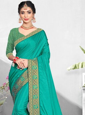 Vichitra Silk Patch Border Turquoise Traditional Saree