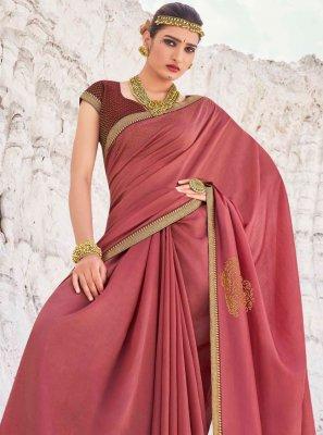 Vichitra Silk Pink Lace Designer Traditional Saree
