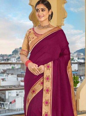 Vichitra Silk Purple Traditional Designer Saree