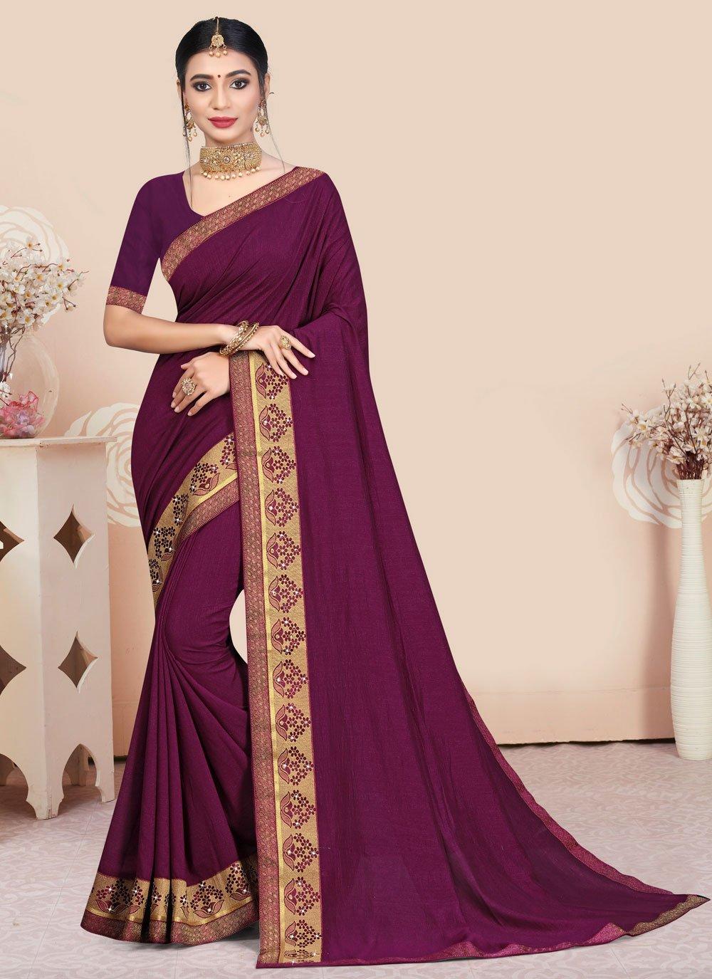 Vichitra Silk Purple Traditional Saree