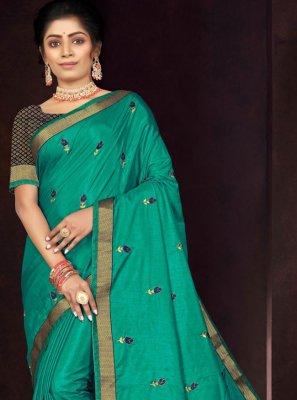 Vichitra Silk Rama Embroidered Traditional Saree