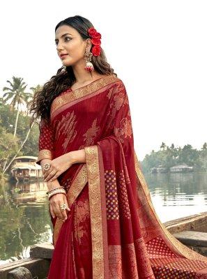Vichitra Silk Red Classic Saree