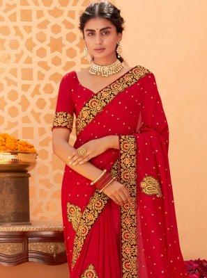 Vichitra Silk Red Embroidered Classic Designer Saree