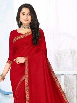 Vichitra Silk Red Lace Classic Saree