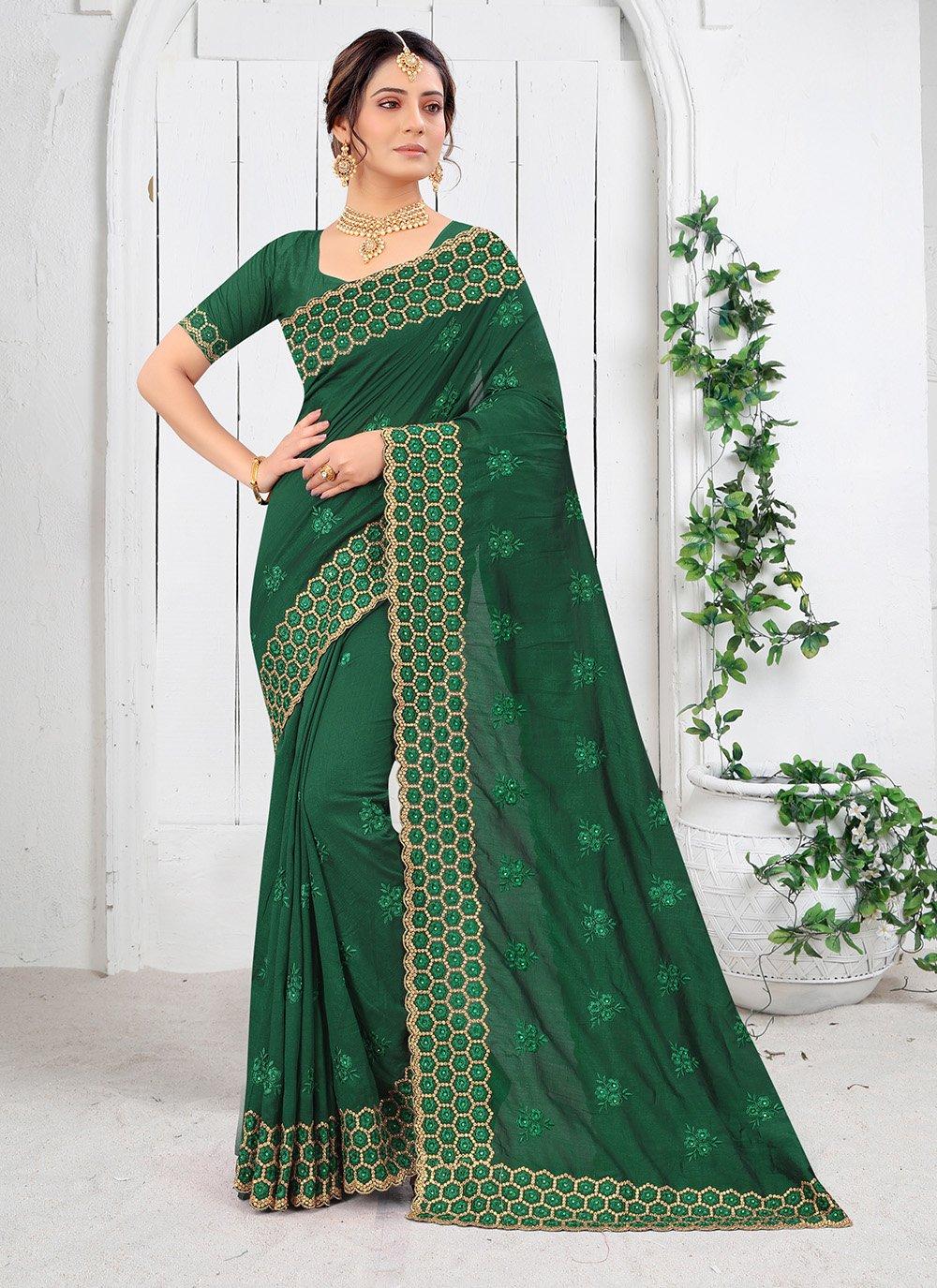 Vichitra Silk Resham Silk Saree in Green
