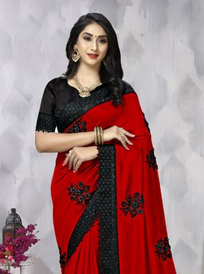 Vichitra Silk Resham Traditional Saree in Red