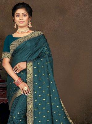 Vichitra Silk Teal Traditional Saree