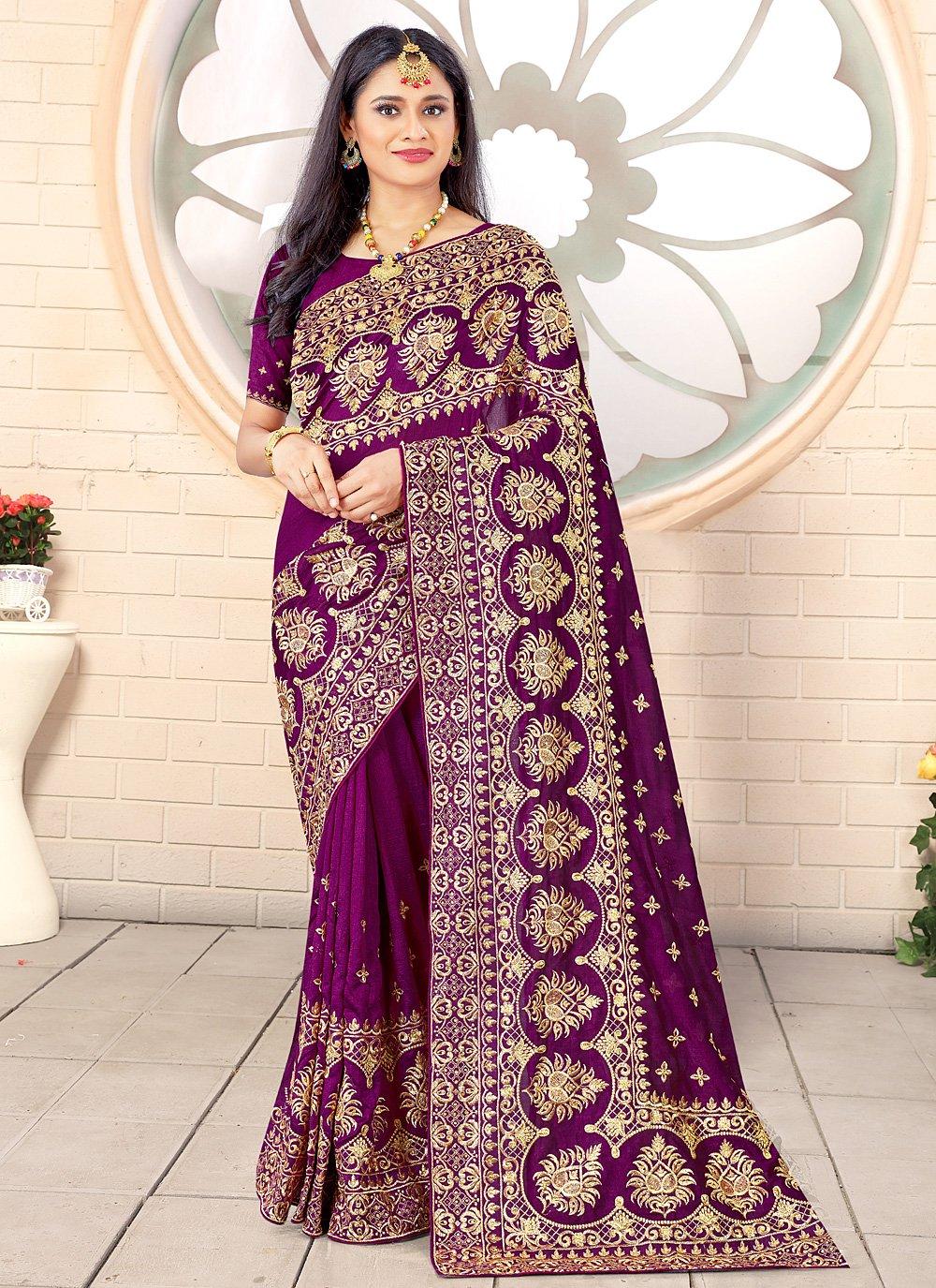 Vichitra Silk Traditional Designer Saree in Purple