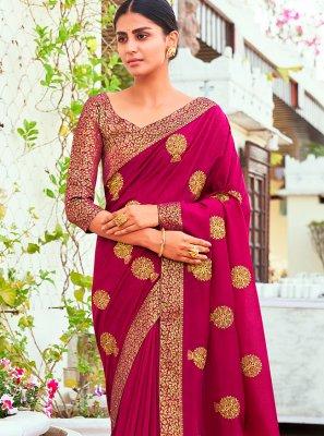 Vichitra Silk Traditional Designer Saree in Wine