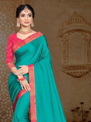 Vichitra Silk Turquoise Classic Saree