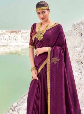 Vichitra Silk Wine Classic Designer Saree