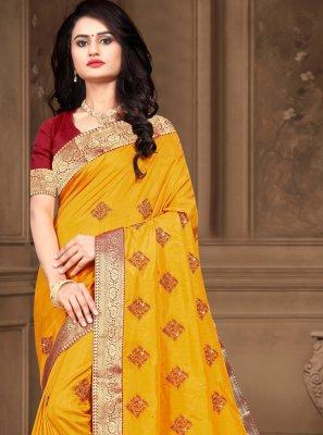Vichitra Silk Yellow Lace Classic Designer Saree