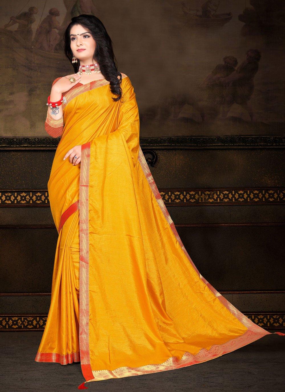 Vichitra Silk Yellow Lace Traditional Saree