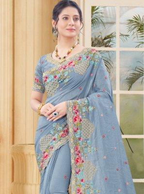 Vichitra Silk Zari Traditional Designer Saree in Grey