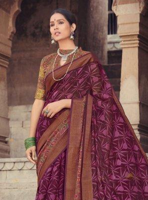 Violet Cotton Silk Printed Printed Saree