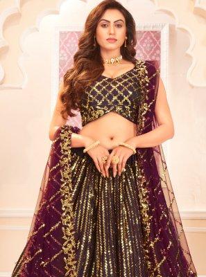 Violet Satin Silk Designer Lehenga Choli