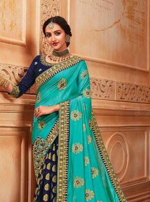 Viscose Aqua Blue and Navy Blue Half N Half  Saree