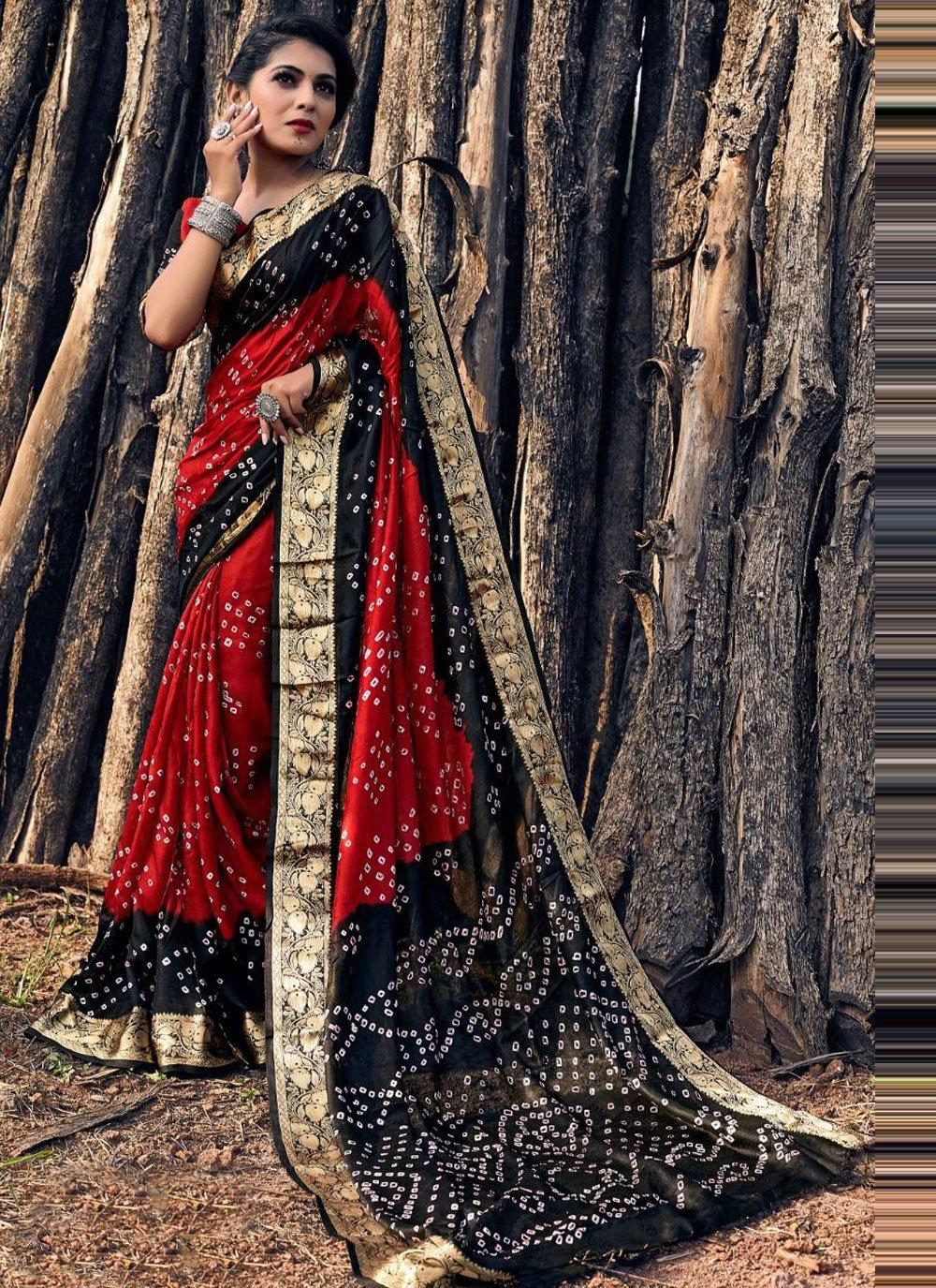 Viscose Bandhani Saree in Black and Red