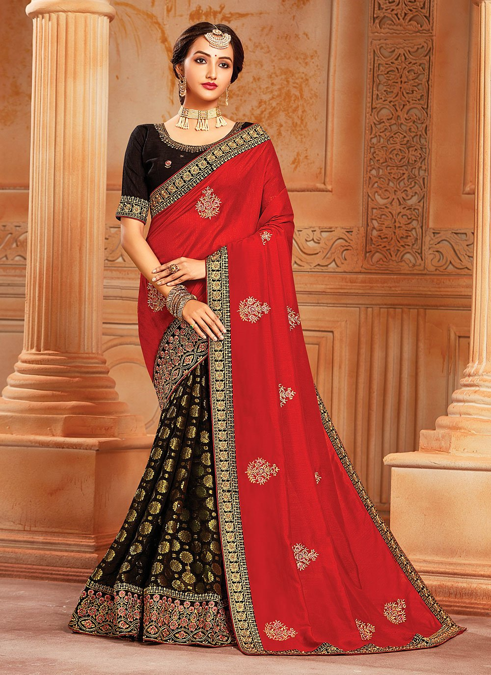 Viscose Black and Red Embroidered Half N Half Trendy Saree