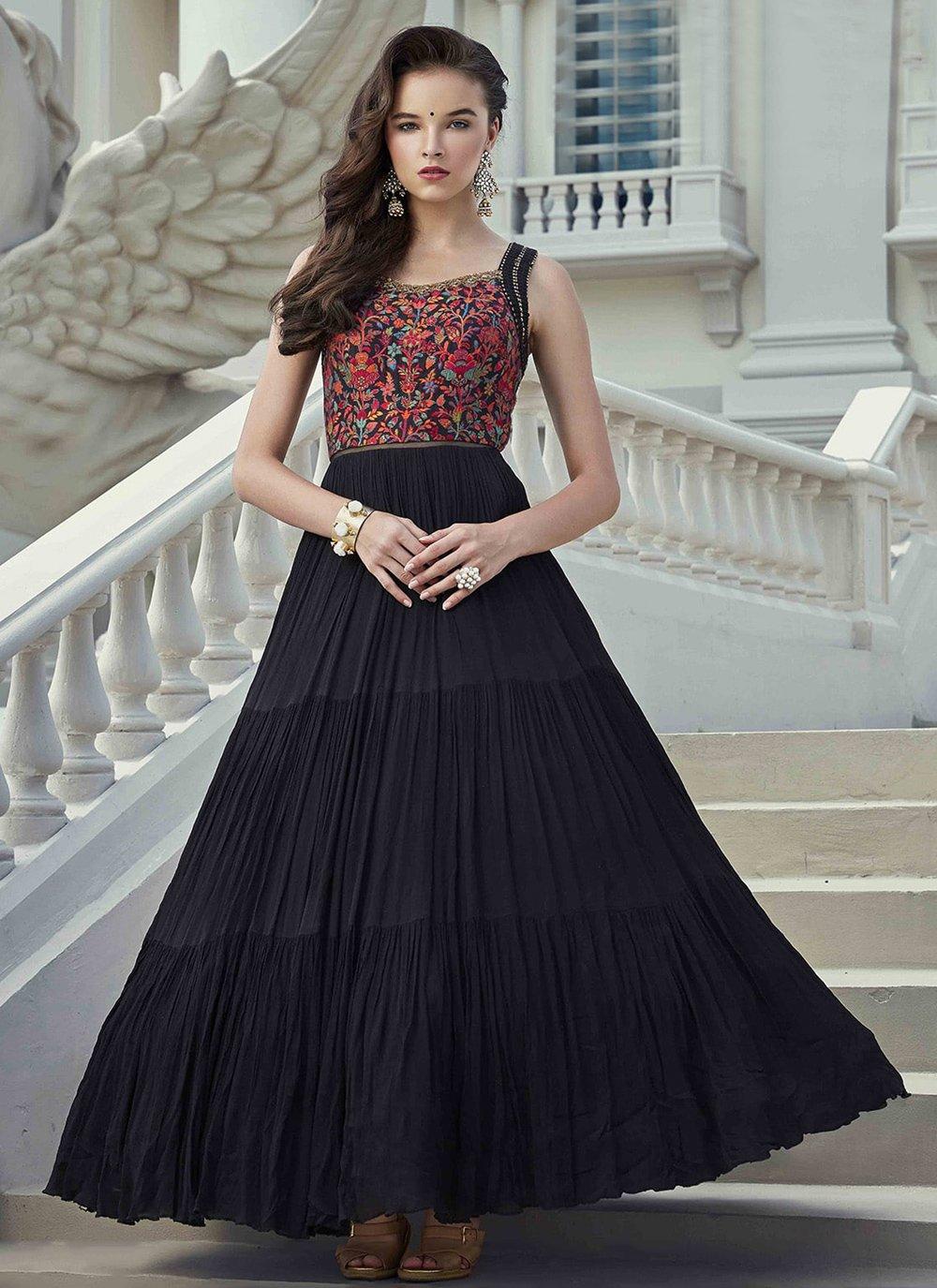 Viscose Black Handwork Readymade Gown