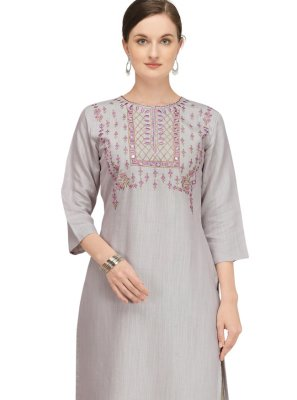 Viscose Designer Kurti in Grey