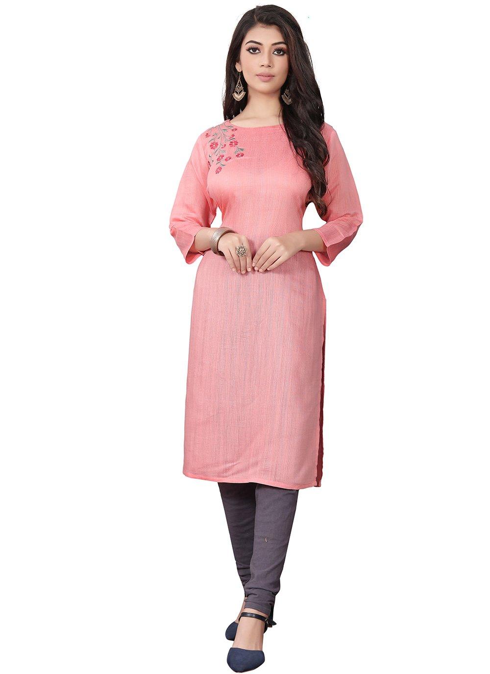 Viscose Designer Kurti in Pink