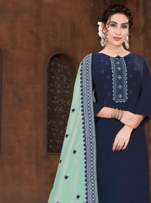 Viscose Embroidered Designer Straight Suit in Navy Blue