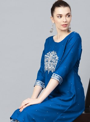 Viscose Embroidered Party Wear Kurti