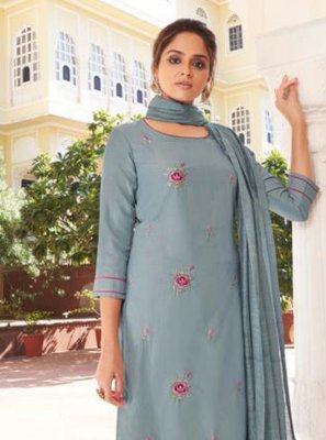 Viscose Embroidered Readymade Suit in Blue