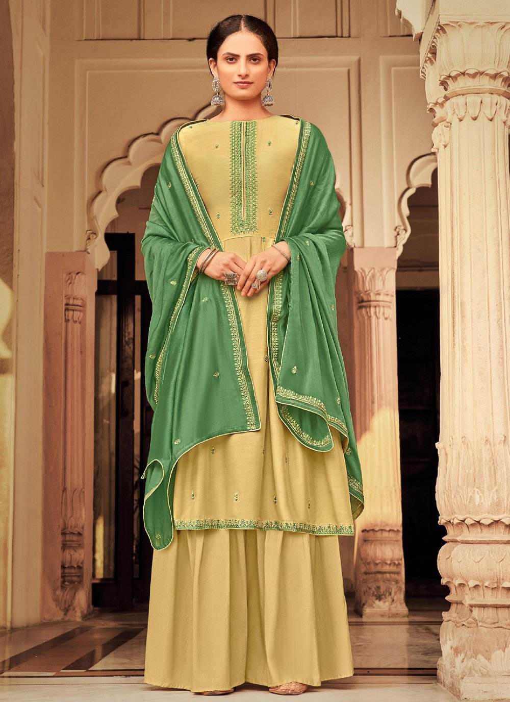 Viscose Embroidered Yellow Designer Palazzo Suit