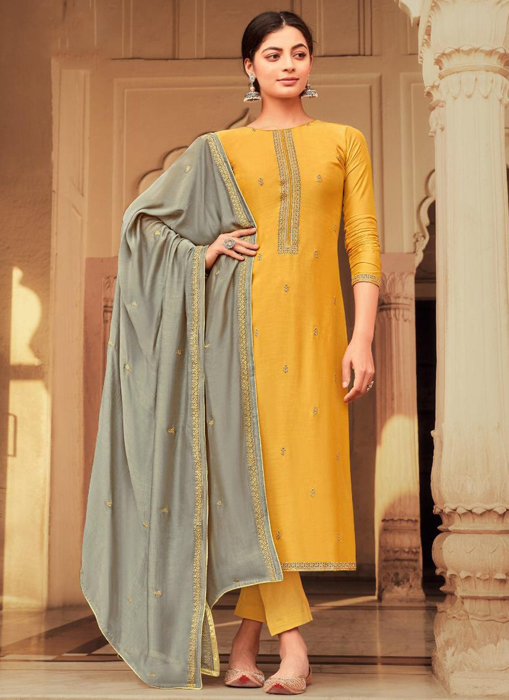 Viscose Embroidered Yellow Pant Style Suit