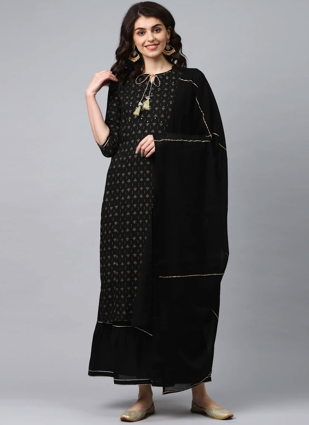 Viscose Fancy Black Readymade Suit