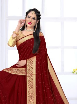 Viscose Maroon Swarovski Contemporary Saree