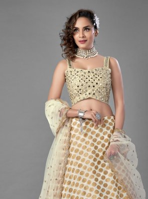 Viscose Off White Mirror Lehenga Choli