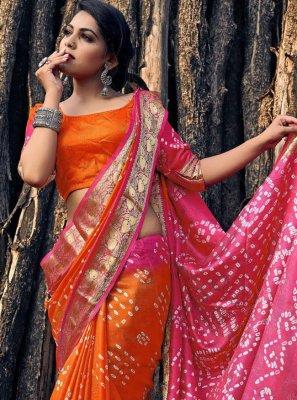 Viscose Orange and Pink Bandhani Saree