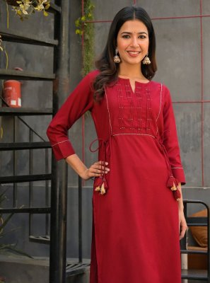 Viscose Party Wear Kurti in Maroon