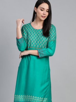 Viscose Print Party Wear Kurti in Sea Green