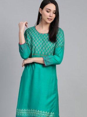Viscose Print Party Wear Kurti in Sea Green