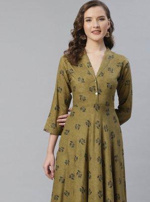 Viscose Printed Green Designer Kurti