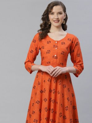 Viscose Printed Orange Designer Kurti