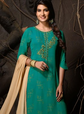 Viscose Sea Green Fancy Readymade Churidar Suit